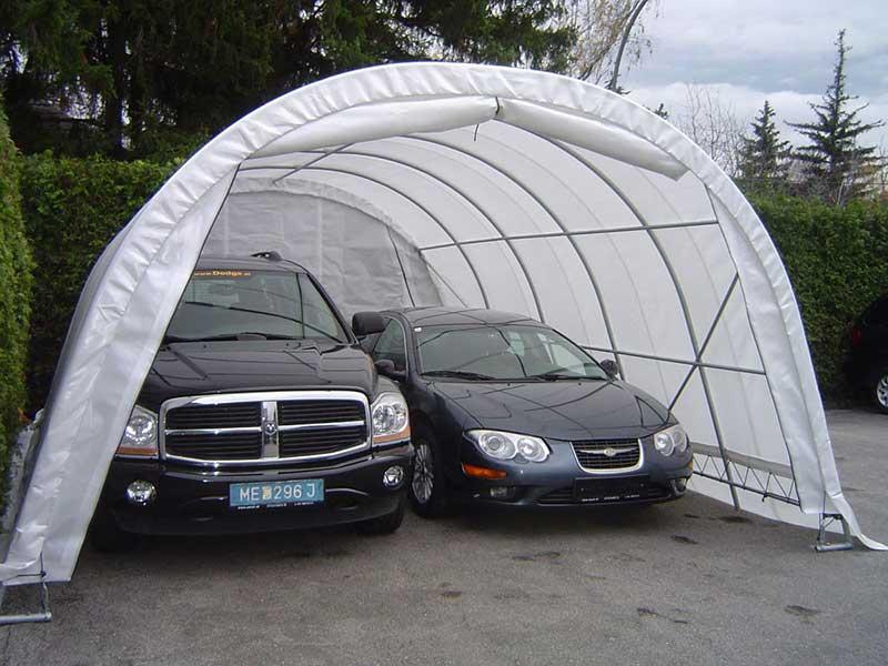 Garagenzelt mit 2 großen PKWs