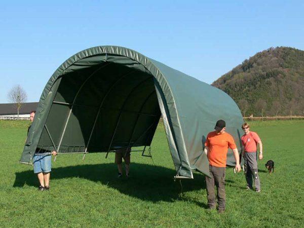 Steinbock Zelte sind im aufgebauten Zustand einfach zu transportieren