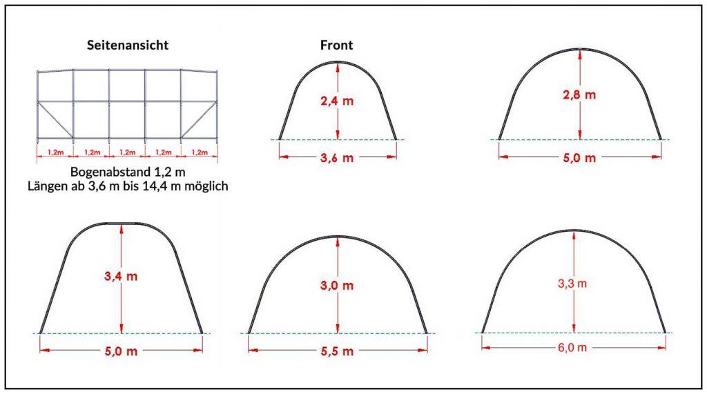 Zeltformen und Abmessungen - Steinbock Allzweckzelte
